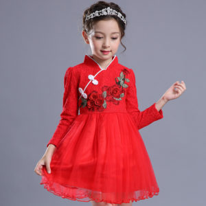 4-8 years Red Floral Embroidery Elegant Full Sleeves Frock