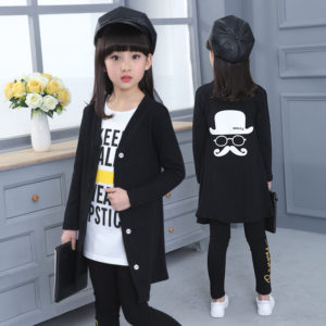 korean 8-9 years Black cardigan +Long T Shirt + Slim Pant