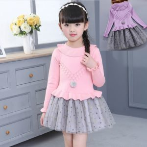 High Quality 2-6years Girl Cashmere Knit Sweater Star net Skirt Frock