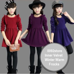 2-8 years Girl Warm Inner Velvet Frocks