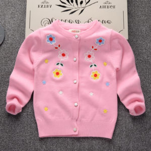 Pink embroidery Flower Original Wool Button Opening Sweater