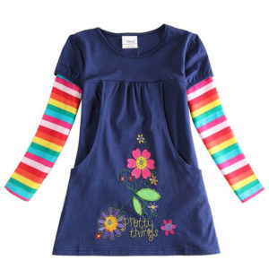 Navy Flowers embroidery pockets colorful sleeves tunic
