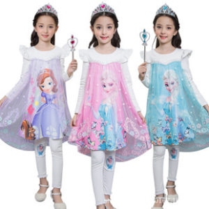 2-8 years Princess 3 colors Full Sleeves Skirt