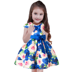 High End Printed Royal Blue Flower Roses princess dress