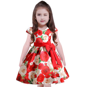 High End Printed Red Flower Roses princess dress