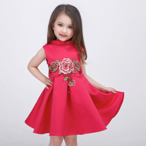 Spring and Summer Embroidered Flower Rose princess dress