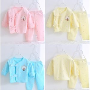 2 Pcs organic Cotton Embroidery New Born Baby Set 0-3 & 3-6 months