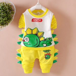 Yellow & Green Dinosaur Summer Shirt & Shorts
