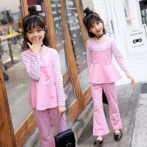 3-7years girl 3 Pcs Stylish Girl 4 Colors Linning Shirt + Skirt + Trouser