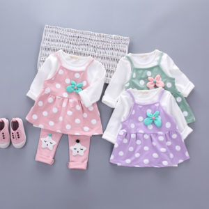 3Pcs Dots Frock + Shirt + Star Trouser