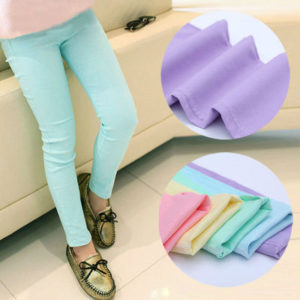 3-12 years High Quality Candy Colored Cotton Stretchable Pants for Girls