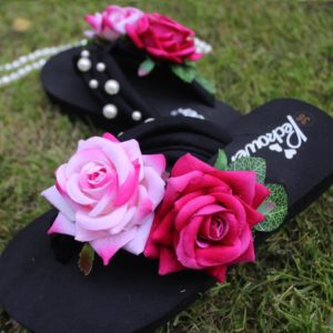 Women Pink & Dark Pink Roses Pearls Black Thin Sole Slipper