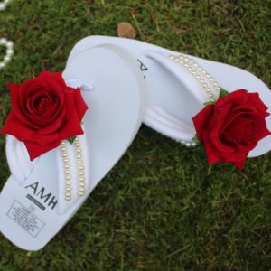 Women Red Rose & Pearls White Thick Slipper
