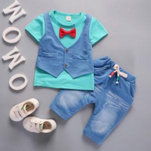 Green Shirt with Blue Front waist Coat & Shorts