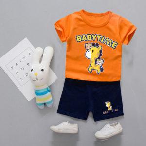 Orange Giraffe Shirt & Shorts