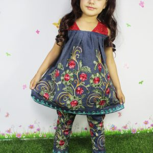 2-12 years Girl Flower Embroidery Summer Lose Cotton Tunic & Trouser