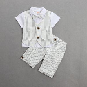 White Front Waist Coat Shirt & Shorts oxford boy