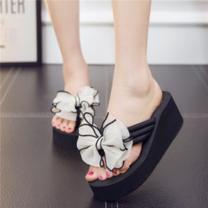 Women casual White Big Bow Slippers