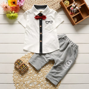 Short Sleeves glasses embroidery Collar Suit Shirt & Shorts