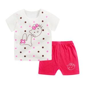 0-4 years Kitty Dots Shirt & dark Pink Shorts