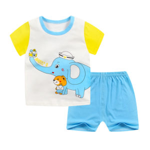 Yellow Sleeves Elephant Shirt &  Sky Shorts