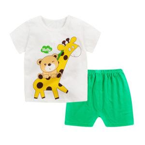 Giraffe Cat Shirt & Green Shorts