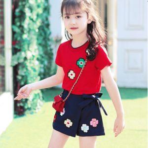 0-4 years Girl Cute Red Flower Shirt & Skirt