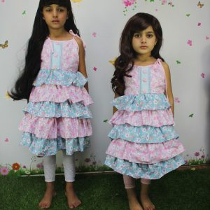 2-9 years Pink Sky Colorful prints Cotton ruffles Frock