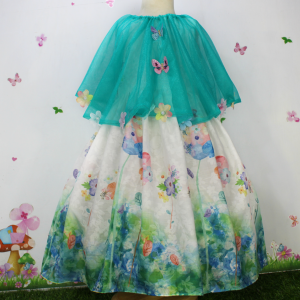 Cotton floral Print Frock & Sea Green Flowers Butterfly Cape