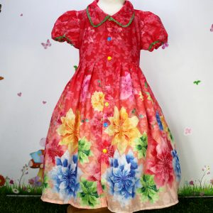 Red Beautiful Floral Print Open Frock for Summer