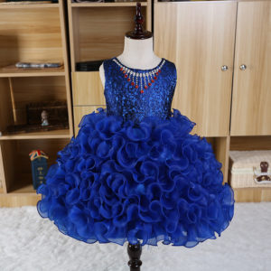 1-8 years Girl 0092store Royal Blue Necklace Organza Frock