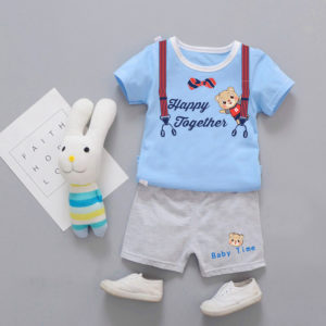 Sky Blue Teddy Bear Shirt & Shorts