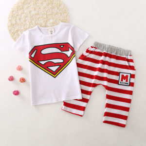 4-5 years Red Cotton Superman Summer shirt & shorts