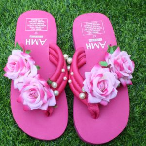Women Pink Shades Roses & Pearls Dark Pink Thin Slipper
