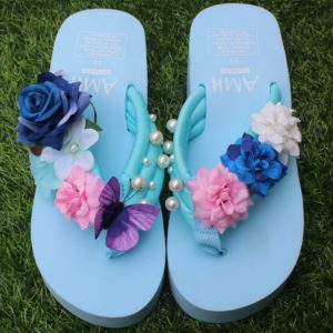 Women Multi Shades Flowers & Pearls Sky Blue Thick Slipper for Summer