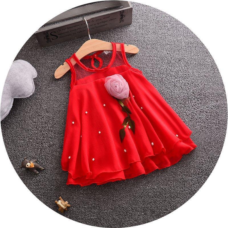 1269e5b83e9c Red Chiffon Baby Girl Rose Frock - 0092 Store