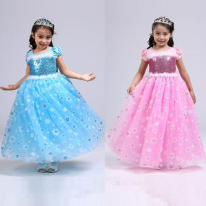 3-10 years Snow Flakes Sequined Long Gown