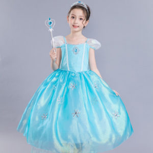 3-10 years girls Sky Blue Snow Princess Long Gown