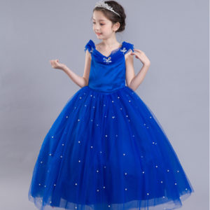 3-10 years girls Royal Blue Butterfly Cinderella Royal Blue Long Gown
