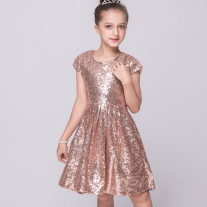 2-8 years Champagne Sequined Girl Frock for Summer