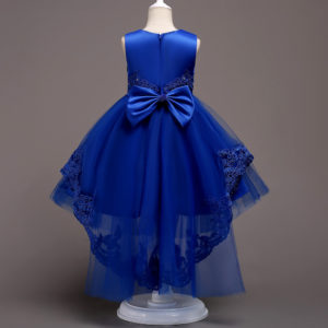 3-12 years Girl royal Blue Tail Rhinestone Lace Embellished Frock