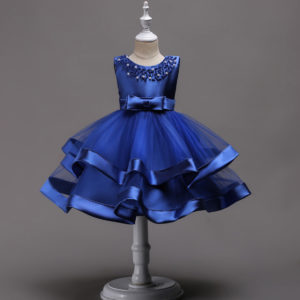 2-8 year Girl Royal Blue gorgeous Bow Frock
