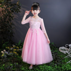 8-9 years Girl Pink Sequined Sleeves Long Gown