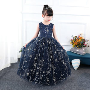 4-15 years Gorgeous Blue Stars Shimmer Long Gown Summer