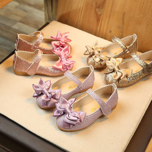 Shimmer Bright Leather Princess Bow Flat Shoes Elegant