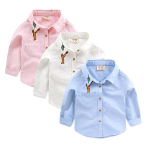 Boutique 1-8 years Boy Giraffe Embroidery Cotton Oxford Long-Sleeved Suit Shirt