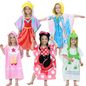 0092store 1-6 years Children's Bathrobe with Hood Towel