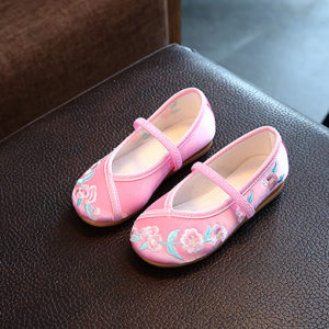 Pink Flower Embroidery Shoes