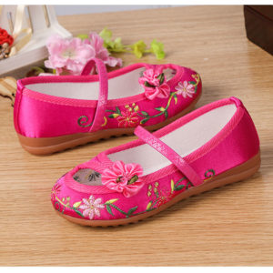 Dark Pink Ribbon Flower Embroidery Shoes