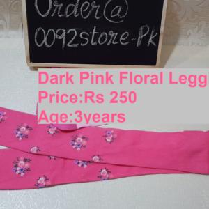 3 years  Baby Girl Dark Pink Floral Cotton Legging